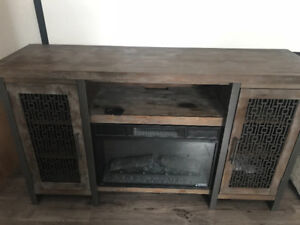 Distressed wood look electric fireplace
