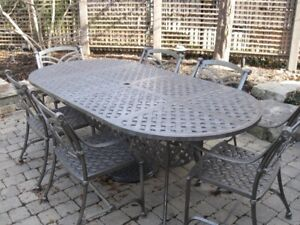 Hauser solid aluminum  outdoor table with 6 chairs