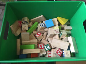 Bin of Wooden blocks