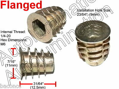 E-Z LOK 1/4-20 Die Cast Zinc Hex Drive Threaded Insert Wood Flanged Unflanged