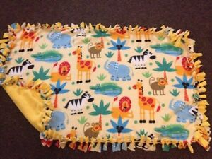 Jungle animals handmade fleece blanket