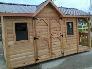 western red cedar log style shed. Sorry shed is SOLD