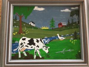 Two folk paintings by J. Balcom