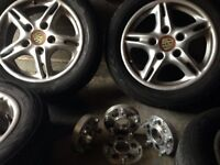 Set of 4 wheels and Porsche to VW coveter spacer s 25 mm