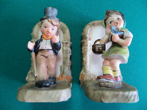 Boy and Girl Ceramic Figurine Bookends