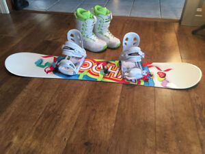 Junior snowboard and boots set 150$