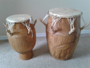 Hand-carved African drums