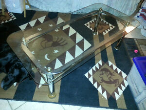 Glass coffee and end table..gold & chrome