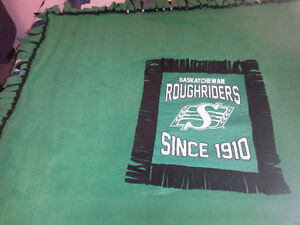 Roughriders Green and Black Fleece Blanket