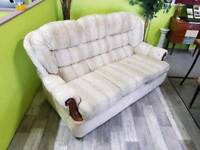 White Floral 3 Seater Sofa - Can Deliver For £19