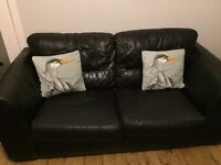Two black leather dfs couch sofa bed two seater seat & cushions