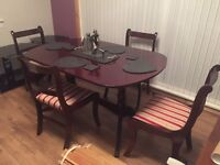 Antique Solid Mahogany Dining room table and 4 chairs