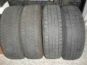 LOT OF 4 WINTER TIRES (195/65 R15) MOUNTED ON STEEL RIMS