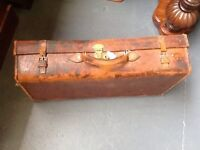 Antique Leather Suitcase shop display shabby chic