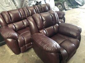 LAZ -BOY Augusta Leatherthree seater and armchair ex display model