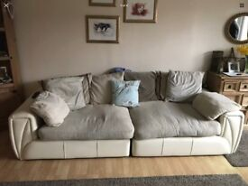 Well loved Sofa cream fabric and white leather ,used condition