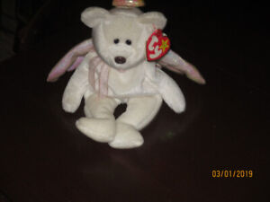 Rare Ty Beanie Baby HALO Angel Retired 1998 black eyes -Defects