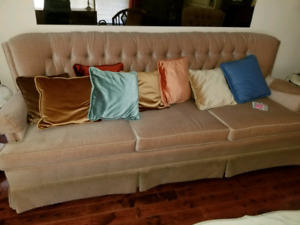 Velveteen vintage couch and chair