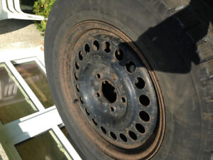 "Set of 4-15"" rims,(5X114.3mm) bolt/usable ,but worn tires"