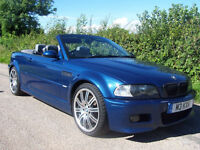"2002 52 Plate BMW M3 3.2 Convertible In Avus Blue , Inc Hard Top & 19"" Alloys"