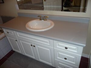 Counter Top American Standard China Sink wth Delta Faucet