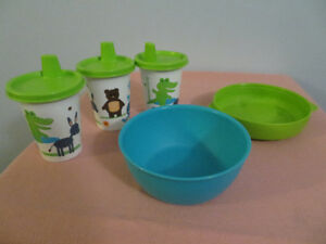 Tupperware Sippy cups and bowls