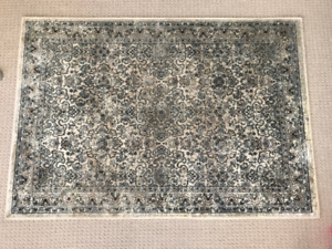 Blue/beige patterned area rug