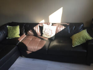 Brown Leather L Shape Sofa