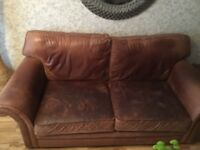 Leather sofa 3 and 2 seater plus chair and footstool