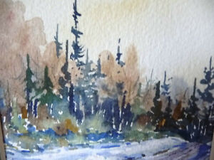 "Myrna Wilkinson ""Winter Shadows"" Original Small Watercolor Stratford Kitchener Area image 4"