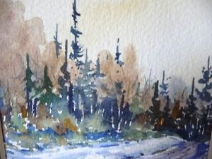 "Myrna Wilkinson ""Winter Shadows"" Original Small Watercolor Stratford Kitchener Area image 4"