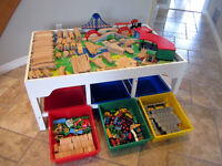 Train Table with Storage Bins - Over 250 Pieces!!