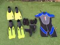Wetsuit, boots and fins