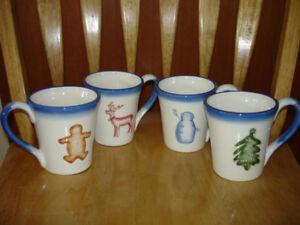 Holiday Ceramic Mugs, Teapot and Tray