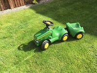 John Deere toddler tractor and trailer