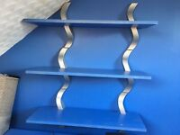 Blue shelves x3