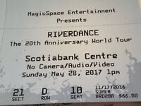 """""""One"""" RIVERDANCE 20th.Tour ticket for sale Sun. May 28th 1pm"""