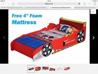 Boys racer car bed with mattress