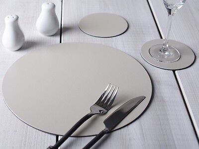 Set of 6 STONE GREY Round Leatherboard PLACEMATS & 6 COASTERS (12 Piece Set)