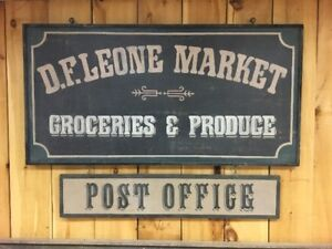 Large Double Sided Wooden Groceries/Produce and Post Office Sign