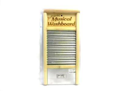 Authentic Musical Washboard Wood Aluminum with 3 Thimbles in Original Package