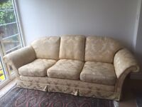 Gold fabric traditional sofa and arm chairs