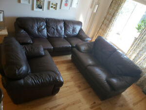 3 pcs leather sofa set dark brown