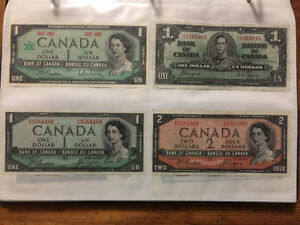 Various older Canadian bill/notes for sale