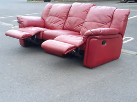 Recliner Red Leather 3 Seater Sofa 🤩excellent condition
