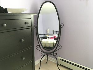 Sold PPU - Black Iron Mirror on Stand