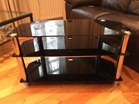 Black Glass and Chrome Three Shelf TV Stand