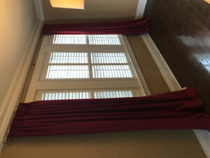 Custom curtains and curtain rods. Approx 8 ft high.