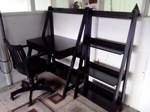 Beautiful Black Desk, Shelves, and Chair