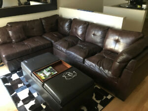 HUGE LEATHER CUIR SECTIONAL L COUCH SOFA DARK BROWN